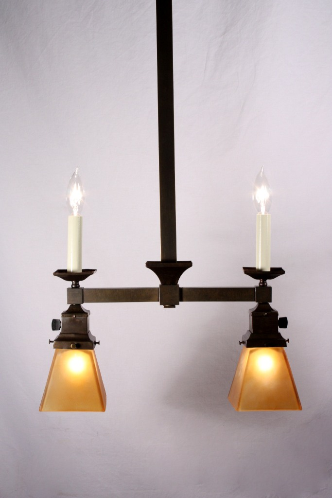 Superb Antique Brass Four Light Gas Amp Electric Chandelier