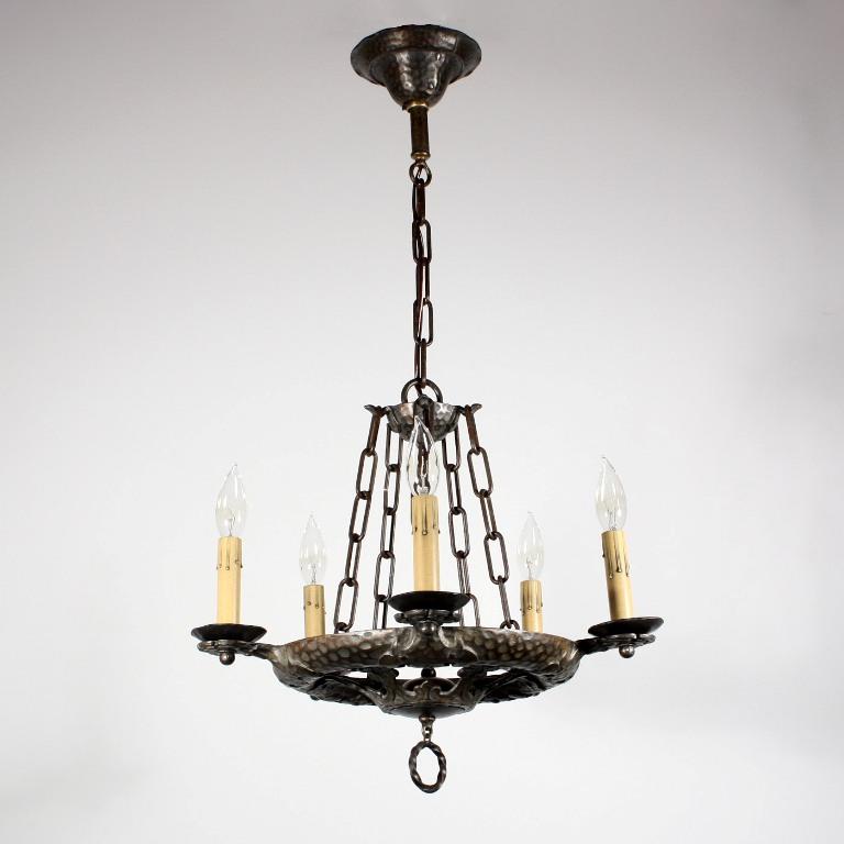 Amazing Antique Five Light Cast Iron Tudor Chandelier NC1211 For Sale Antiq