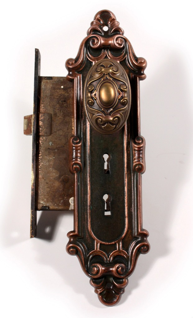 "Two Matching Antique Bronze Entry Door Hardware Sets, ""Meridian"" by Yale &  Towne, c. 1910 -- NDKS30 ONE AVAILABLE - For Sale - Two Matching Antique Bronze Entry Door Hardware Sets, ""Meridian"" By"