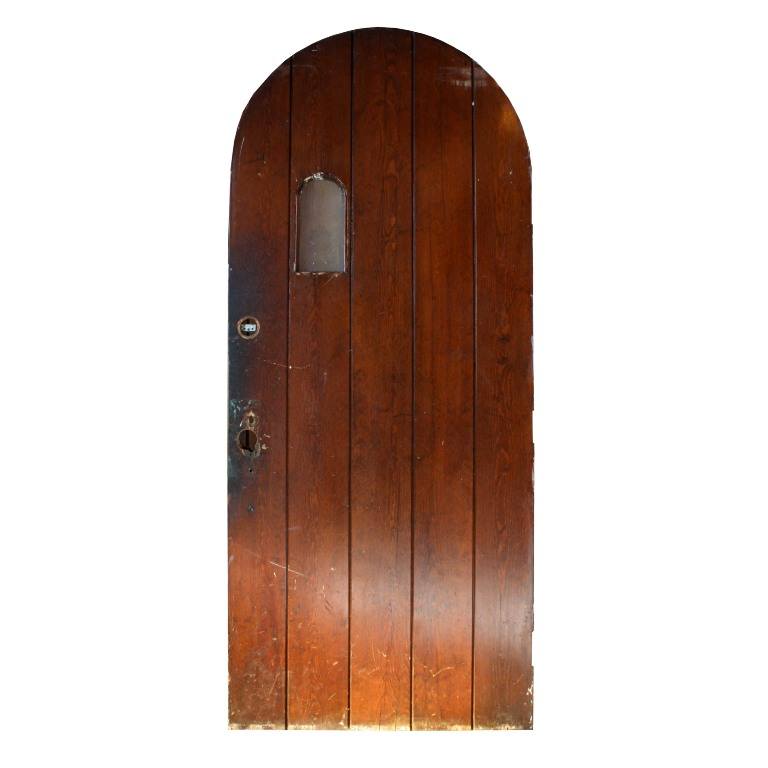 Antique Exterior Arched 36 Plank Door With Strap Hinges