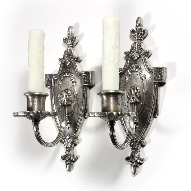 Antique Georgian Wall Sconces : Superb Pair of Antique Single-Arm Georgian Sconces, Silver Plated NSP689 For Sale Antiques.com ...
