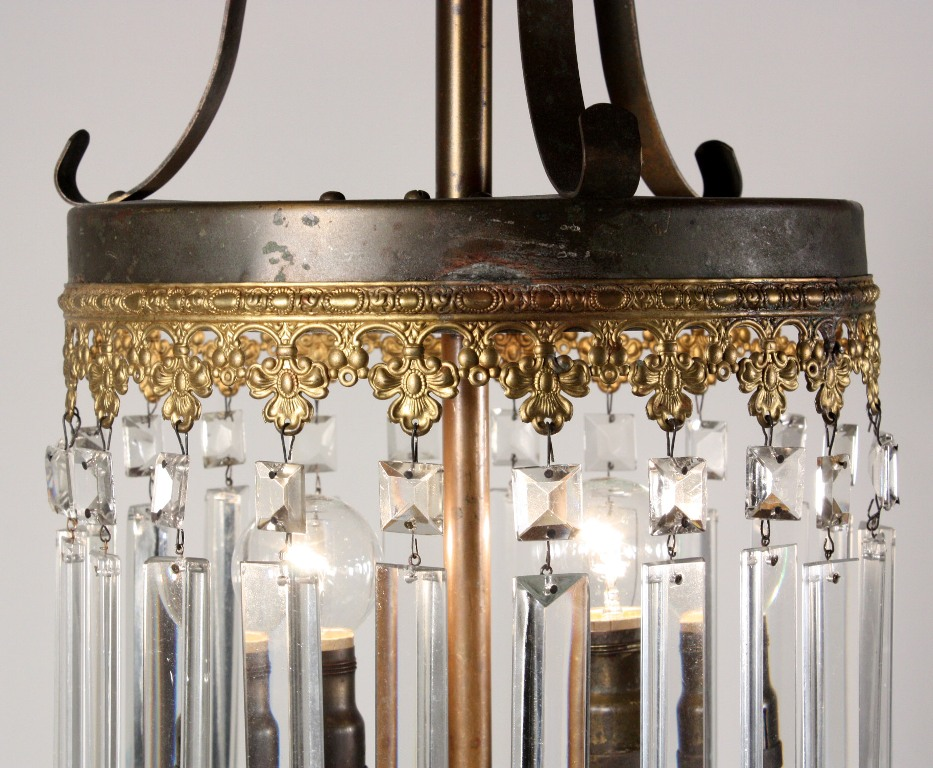 A splendid antique two-light gas chandelier with crystal prisms, dating  from the 19th Century and now converted to electricity. The chandelier  begins with a ... - Stunning Antique 19th Century Gas Chandelier With Crystal Prisms