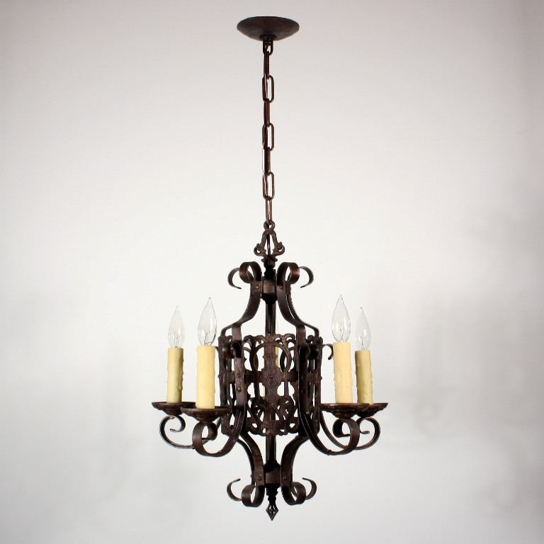 Wonderful antique five light spanish revival chandelier for Spanish revival lighting