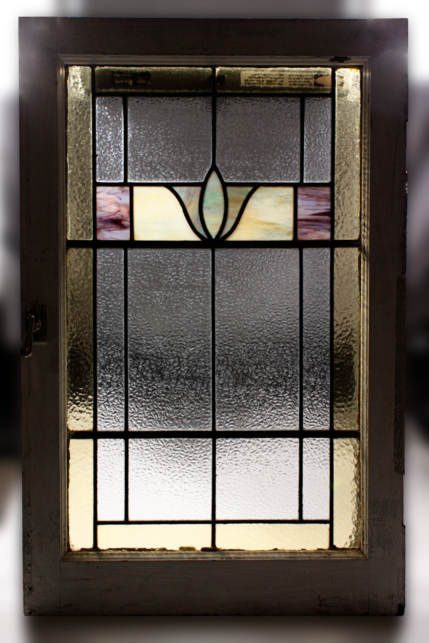 Fabulous antique american stained glass window art deco for Art deco glass windows