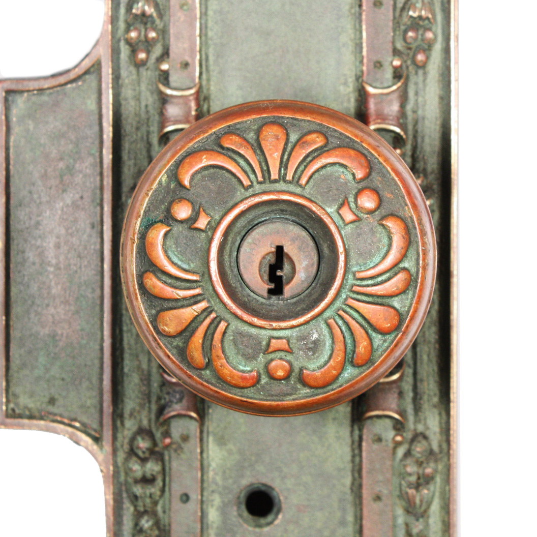 "This is an beautiful antique entry door hardware set, made by Corbin in the  ""Hatfield"" design, retaining its nicely aged verdigrised patina. - Antique Bronze Entry Door Hardware Set, ""Hatfield"" By Corbin, C.1899"