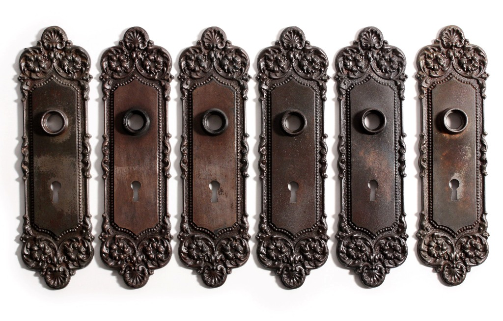 "These are three antique door hardware sets, in the elegant ""Monaco"" pattern  by Yale and Towne, including the door knobs, matching signed back plates,  ... - Three Complete Antique Door Hardware Sets, ""Monaco"" By Yale & Towne"