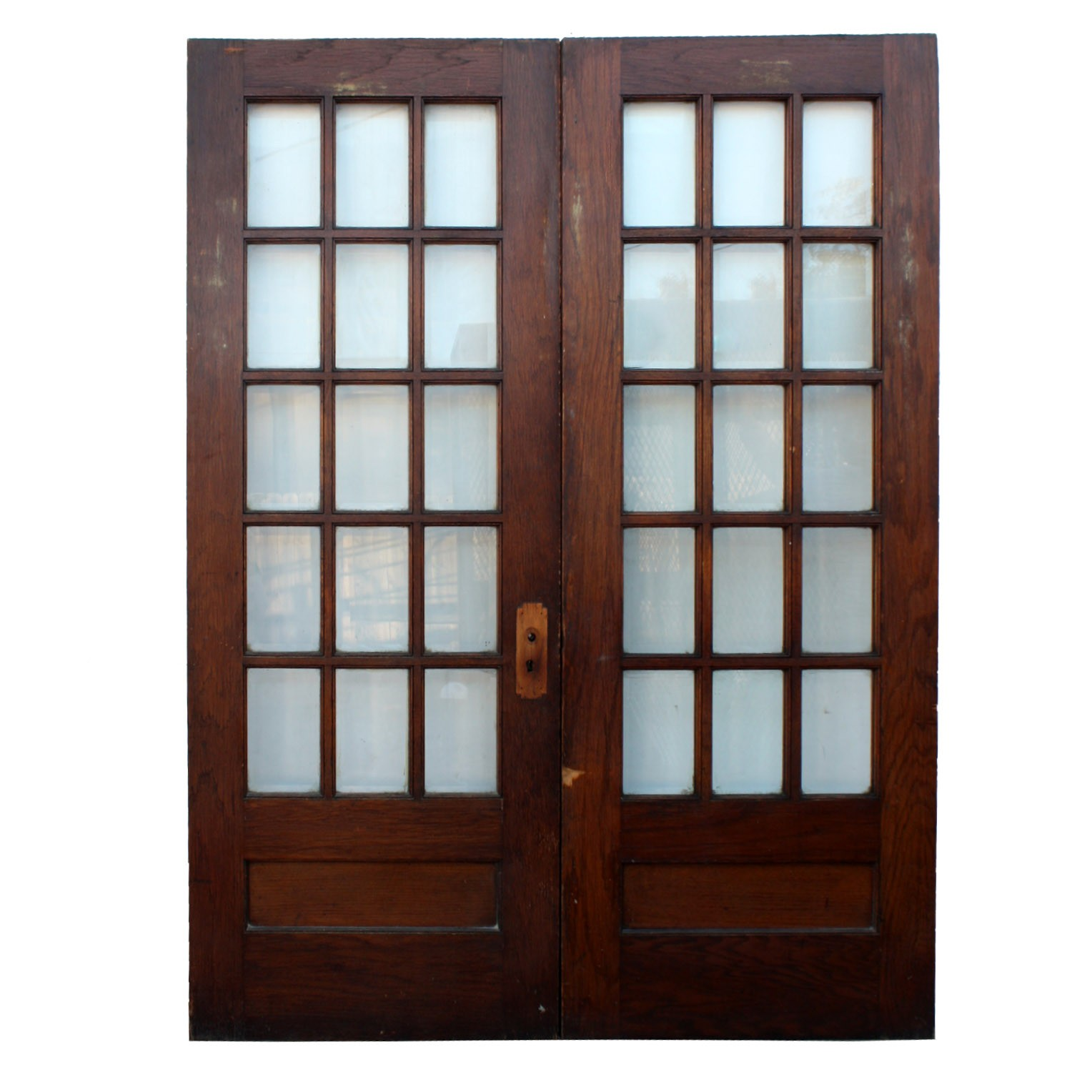Pair Of Salvaged 64 Divided Light French Doors With Beveled Glass