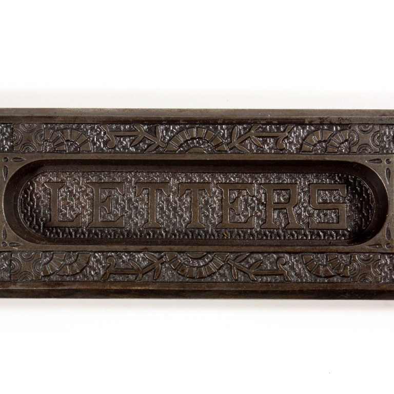 "A fabulous antique cast iron decorative letter slot in Reading Hardware's  ""Windsor"" pattern, dating from the 1880's. This Eastlake mail slot features  the ... - Antique ""Windsor"" Mail Slot By Reading Hardware, 1880's NLS11 For"