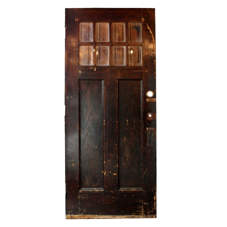 Antique salvaged exterior 36 door with beveled glass for Exterior windows for sale