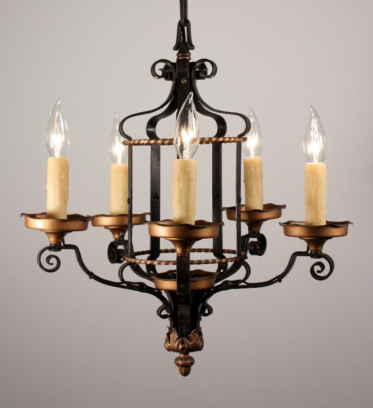 Wonderful Antique Five Light Tudor Chandelier Iron Brass NC863 For Sal