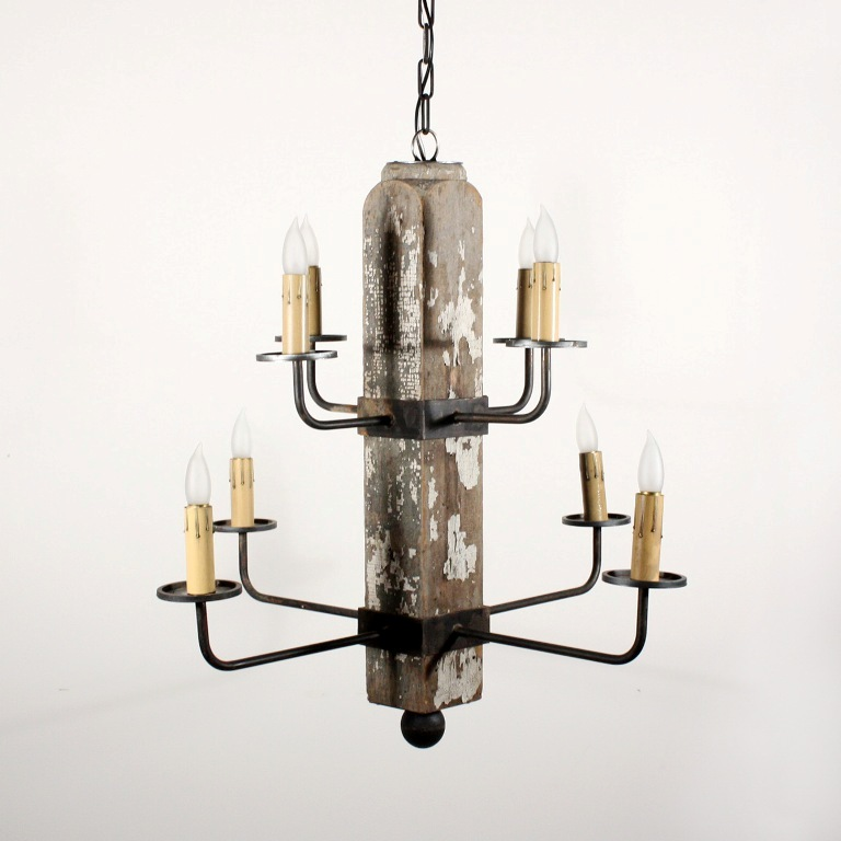 Unique custom eight light chandelier made from antique for Unique chandeliers for sale