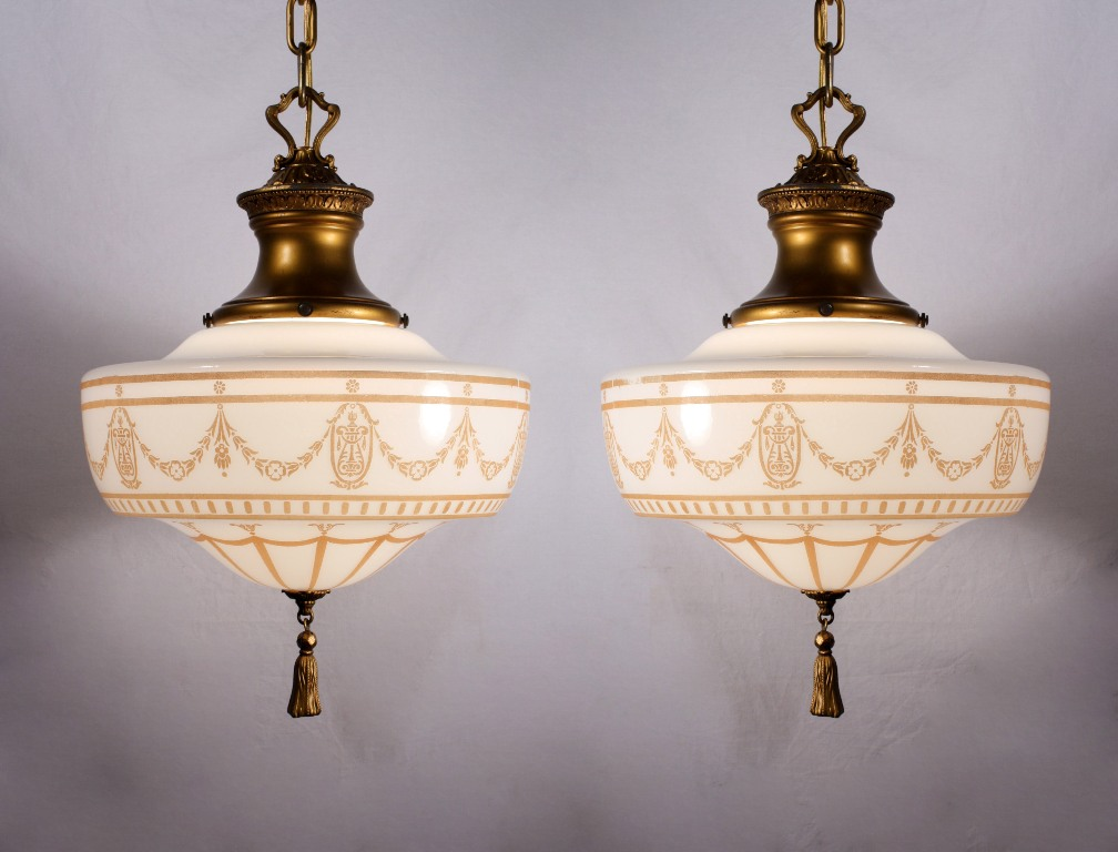 Two Matching Antique Lightolier Pendant Lights Pewter
