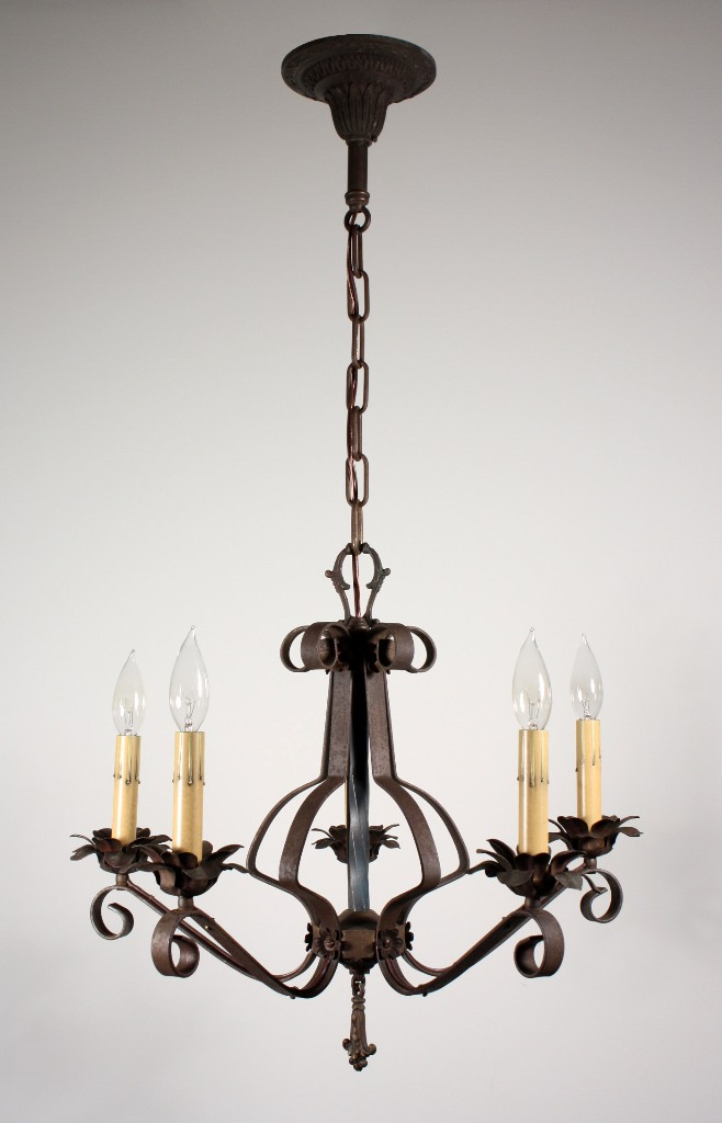 Wonderful Antique Wrought Iron Five Light Chandelier