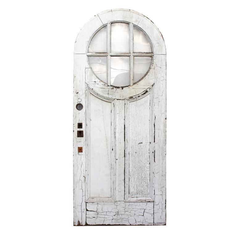 Antique exterior 36 arched door with divided beveled glass for Exterior glass doors for sale