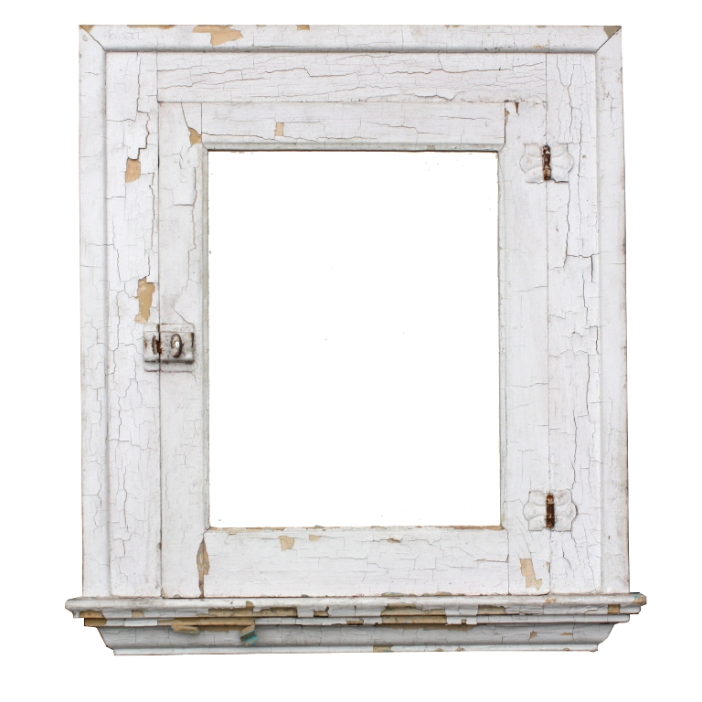 Salvaged Antique Bathroom Medicine Cabinet with Mirror, Crackled Paint NMC9  For Sale | Antiques.com | Classifieds - Salvaged Antique Bathroom Medicine Cabinet With Mirror, Crackled