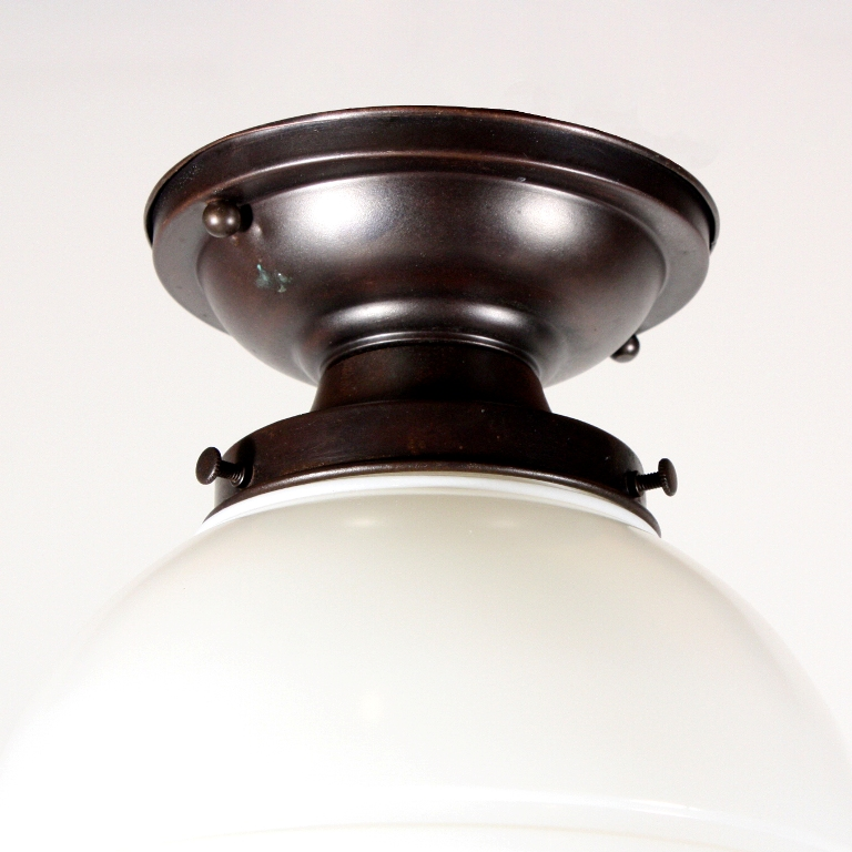Fantastic Antique Flush Mount Light With Glass Globe Shade Dating From The 1930s And Salvaged Out Of Nashville Tn This Art Deco Fixture Features An