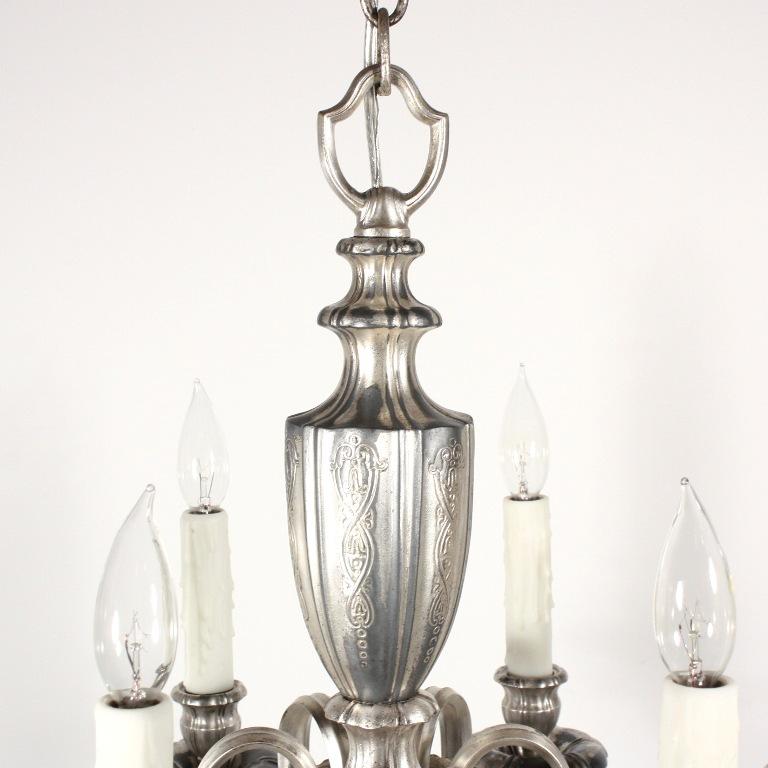 Elegant Antique Silver Plated Six-Light Georgian Chandelier, c. 1910 NC1416  - For Sale - Elegant Antique Silver Plated Six-Light Georgian Chandelier, C. 1910