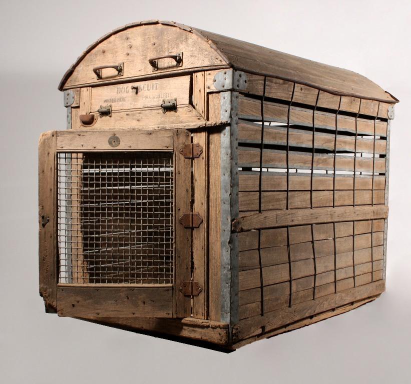 Remarkable Antique Wooden Dog Crate by A Backus Jr