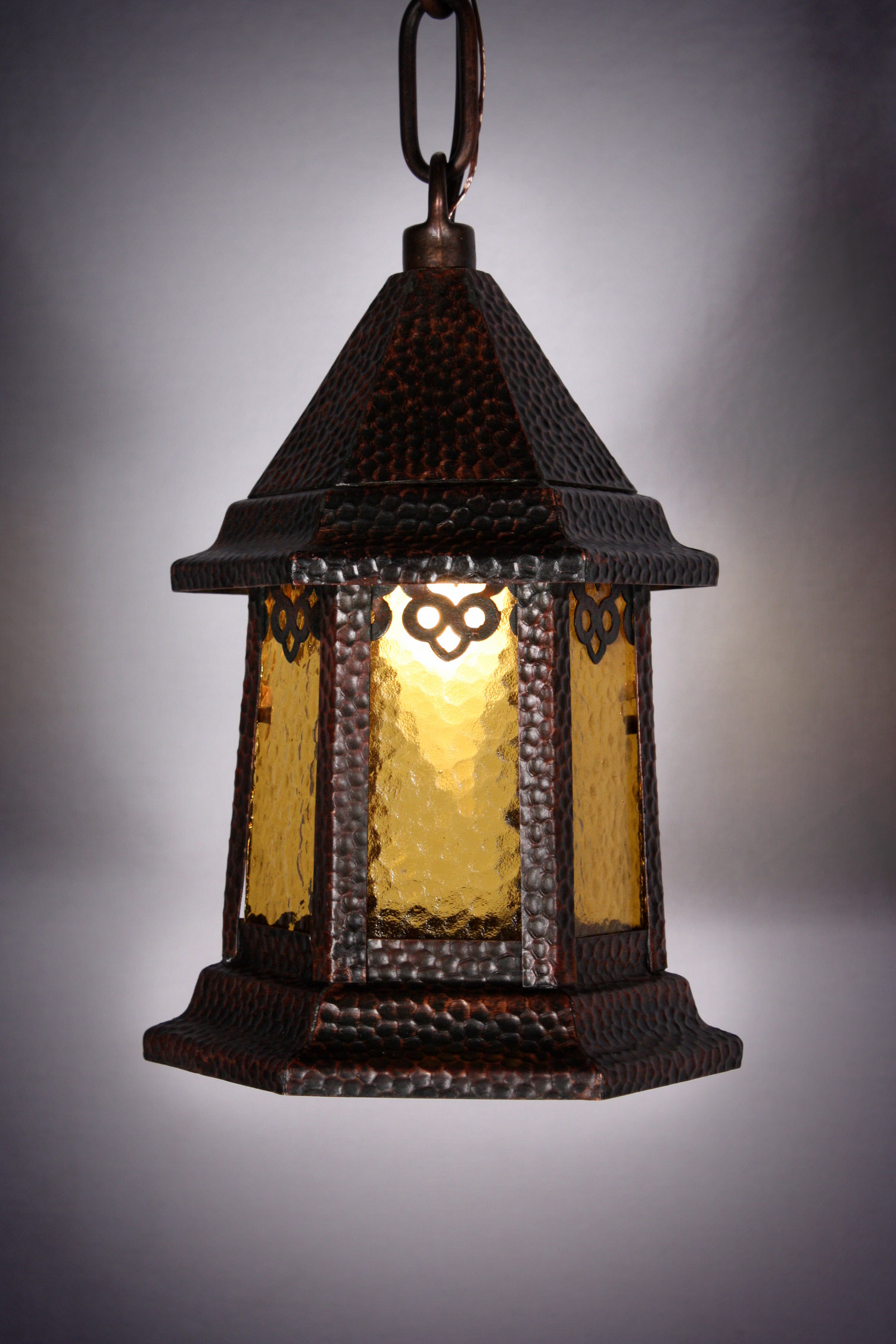 Charming Antique Hexagonal Copper Lantern Pendant Light, c ...