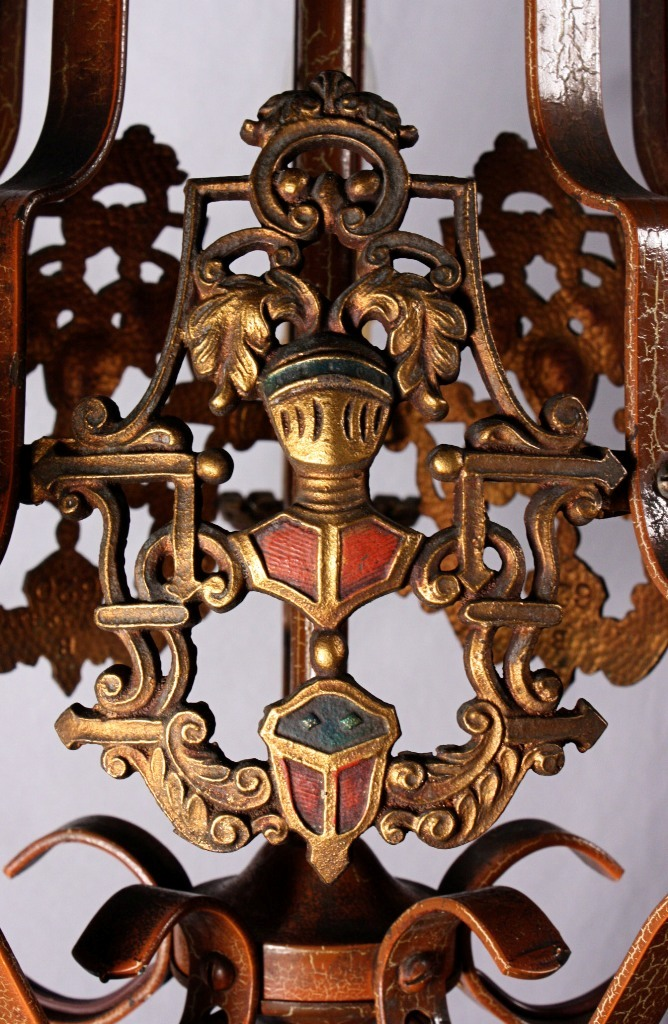 Fascinating Antique Spanish Revival Figural Chandelier with Knights &  Crests, Original Polychrome Finish NC749 - For Sale - Fascinating Antique Spanish Revival Figural Chandelier With Knights