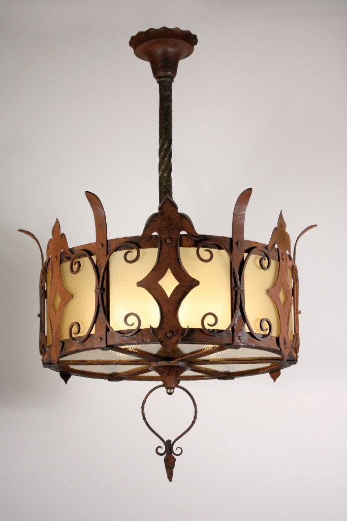 Large antique six light arts crafts chandelier with for Arts and crafts chandelier