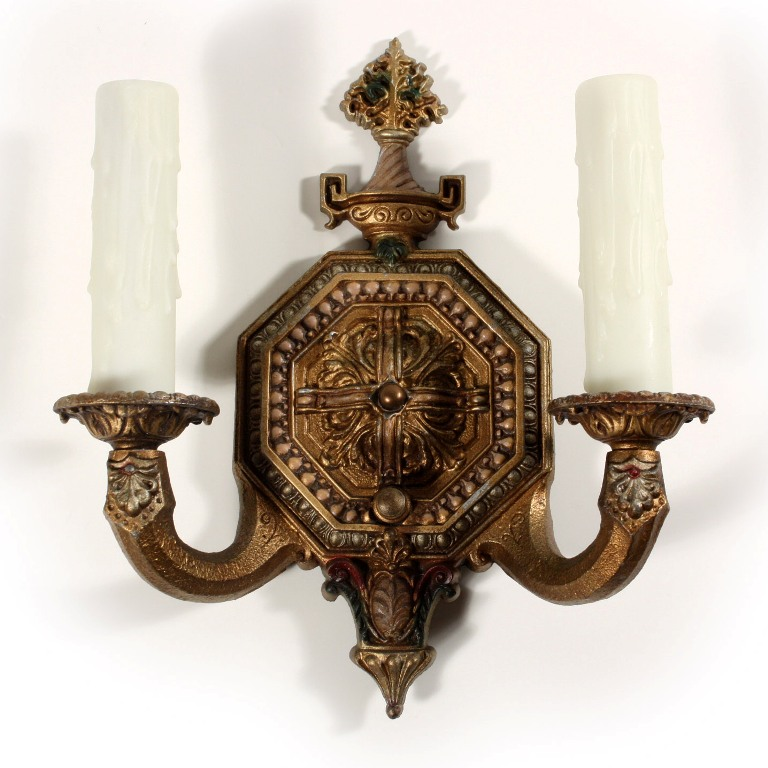Dramatic Pair of Antique Double-Arm Wall Sconces, Signed Lowry Electric Co. NSP655-RW For Sale ...