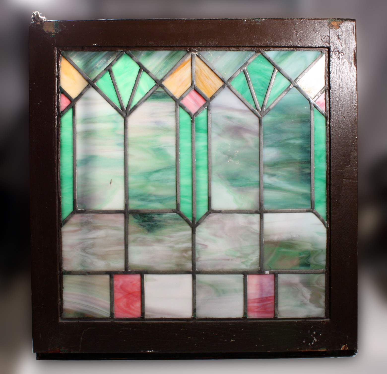 Striking Antique American Arts Crafts Stained Glass