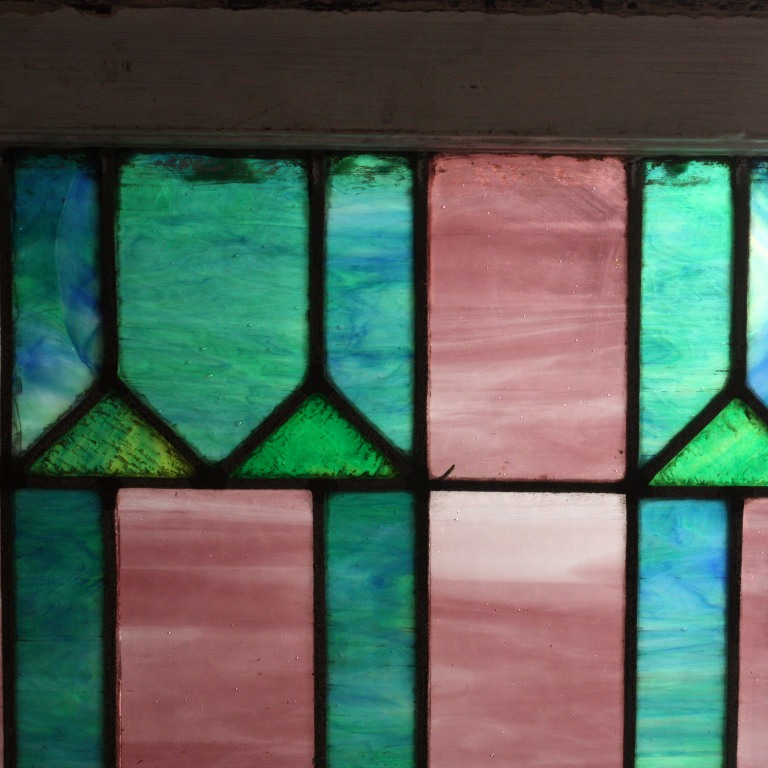 Stunning Antique American Geometric Stained Glass Window ...