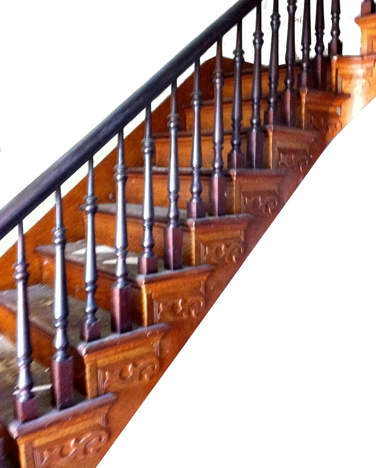 A Complete Antique Staircase With A Large, Carved Newel Post; Spindles;  Handrail; And Decorative Carving. This Was Salvaged From A Late 1800u0027s Home  In ...