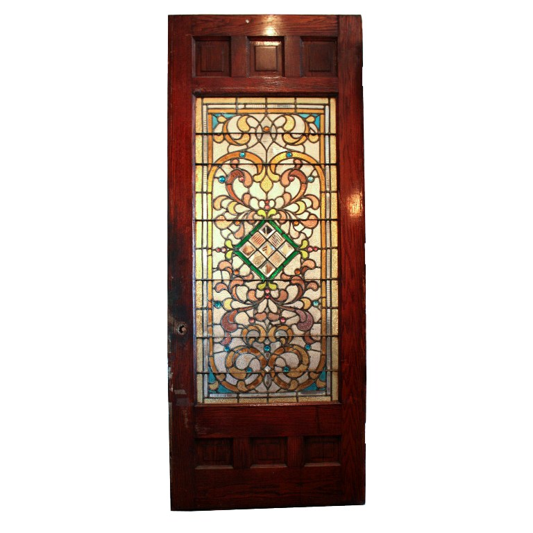Large 38 antique oak front door with jeweled stained for Oversized exterior doors for sale