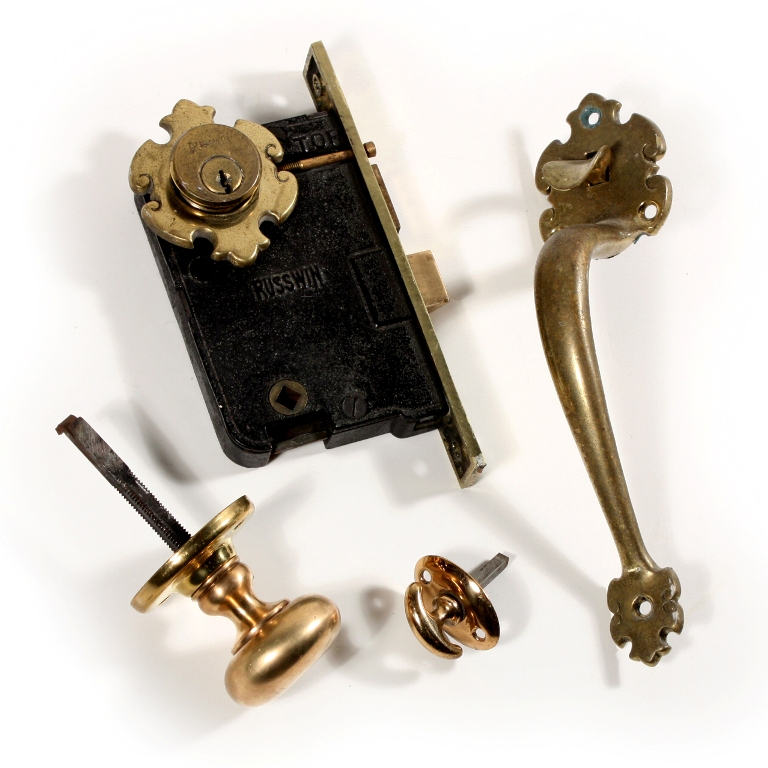 Complete Antique Russwin U201cTollandu201d Thumb Latch Set With Lock, Handle, U0026  Doorknob NDKS158   For Sale