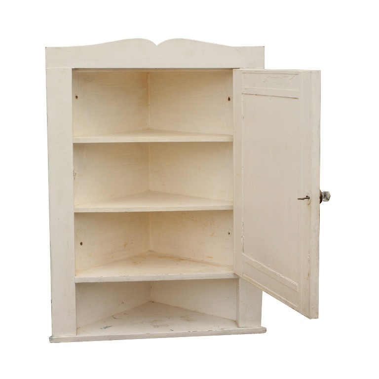 rare salvaged bathroom corner medicine cabinet with