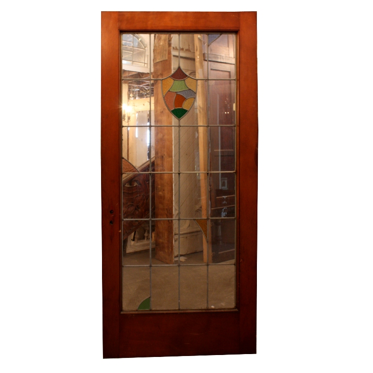 """Magnificent Antique 36"""" Exterior Door With Leaded Glass"""