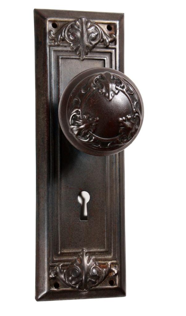 Antique arts crafts door hardware sets with leaf design for Arts and crafts hardware