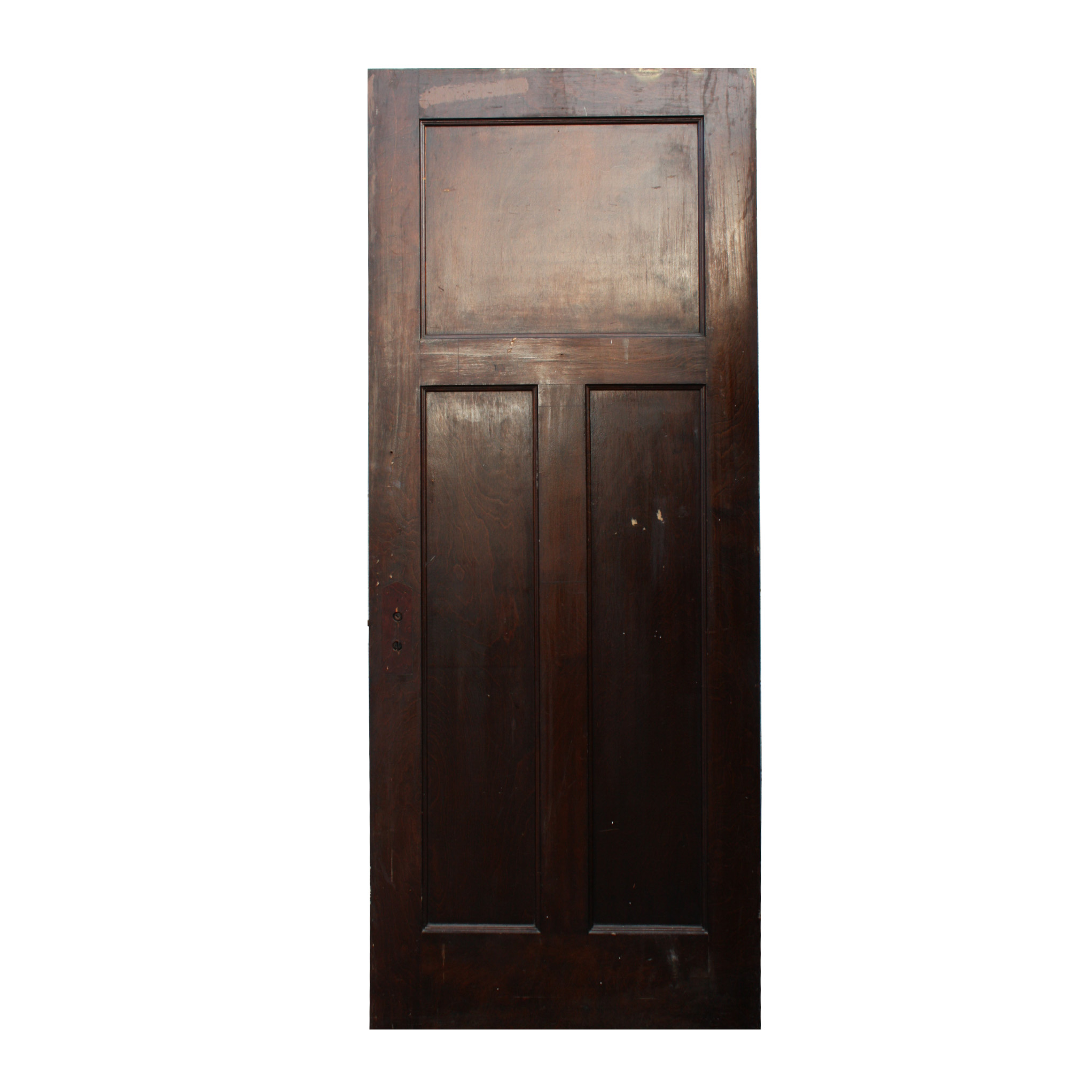 Antique three panel solid wood door stained finish nid27 for Solid wood doors for sale