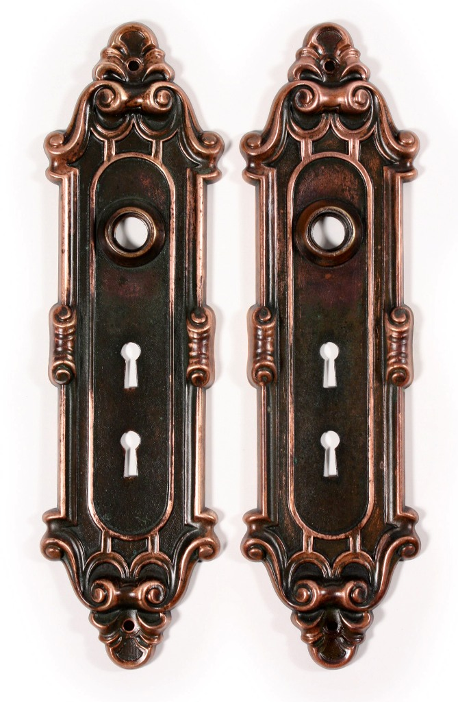 """These are two matching antique bronze exterior door hardware sets, in Yale  & Towne's """"Meridian"""" design, circa 1910. This hardware features an elegant  ... - Two Matching Antique Bronze Entry Door Hardware Sets, """"Meridian"""" By"""