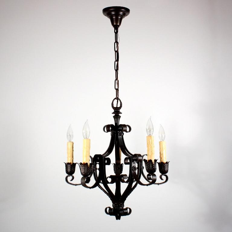 Marvelous Antique Tudor Five Light Wrought Iron Chandelier NC1229 For Sale