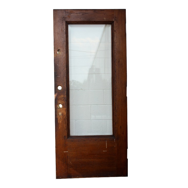 Antique Stained Oak Entry Door With Beveled Glass 36 X 84 NED59 For Sale