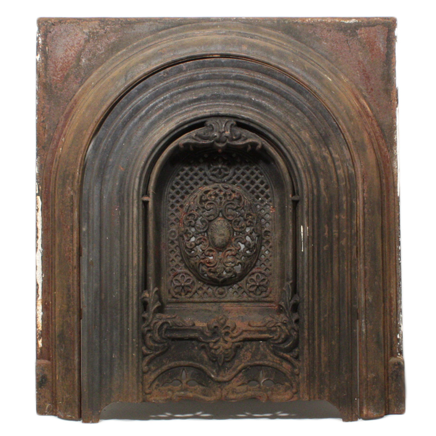 magnificent antique cast iron arched fireplace cover