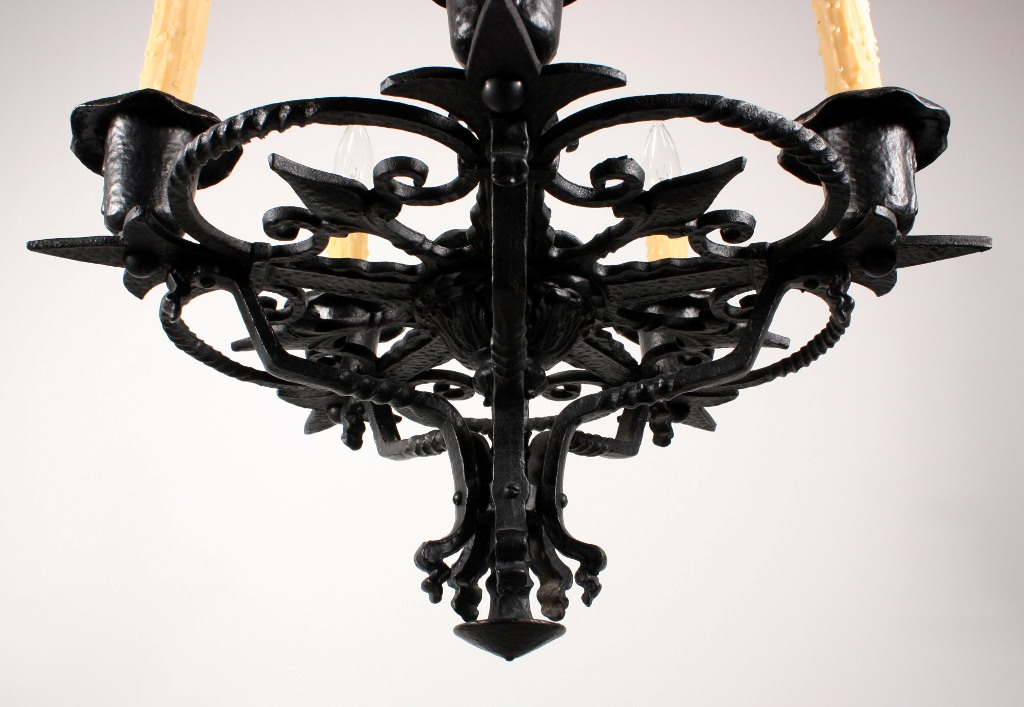 Remarkable Antique Five Light Cast Iron Tudor Chandelier