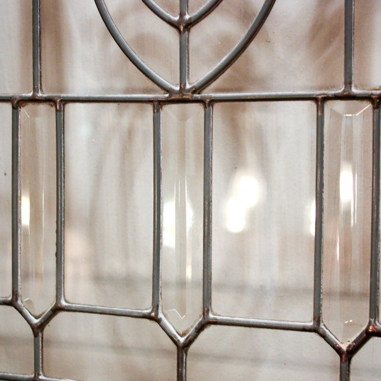 Gorgeous Antique 34 Salvaged Exterior Door With Beveled Leaded Glass