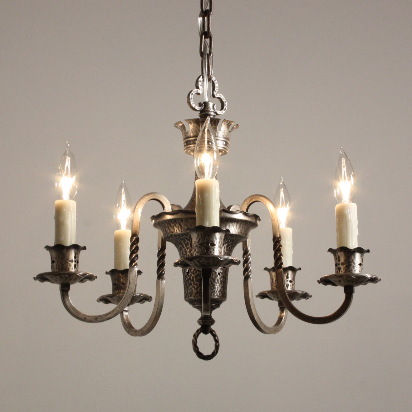 Delightful Antique Spanish Revival Five Light Chandelier, Silver Plate,  c.1920 For Sale | Antiques.com | Classifieds - Delightful Antique Spanish Revival Five Light Chandelier, Silver