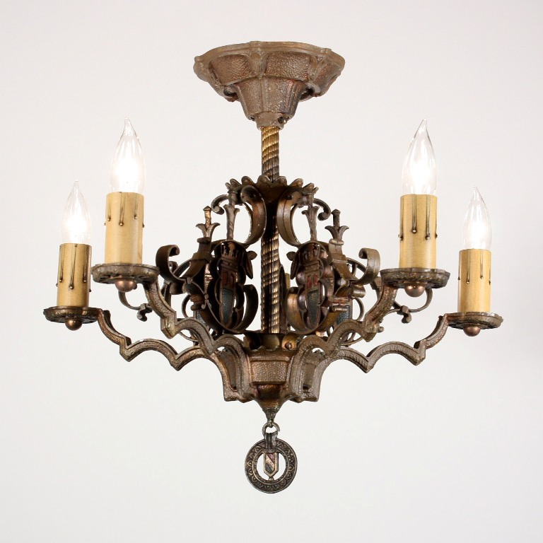 Fabulous Antique Spanish Revival Five Light Flush Mount
