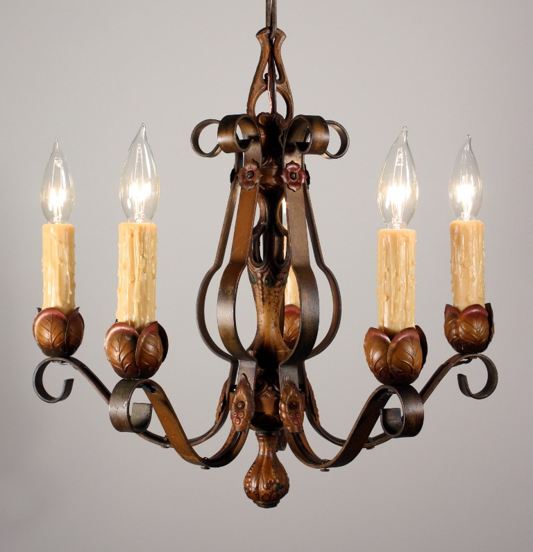 Fabulous Antique Five Light Iron Polychrome Chandelier