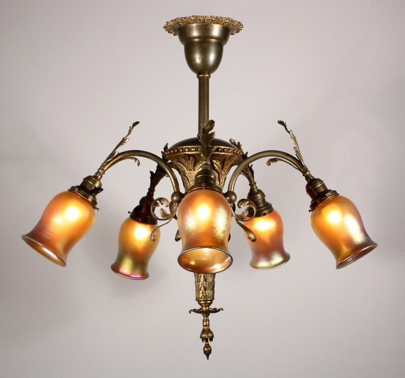 Splendid Antique Five Light Louis Xv Chandelier With Art