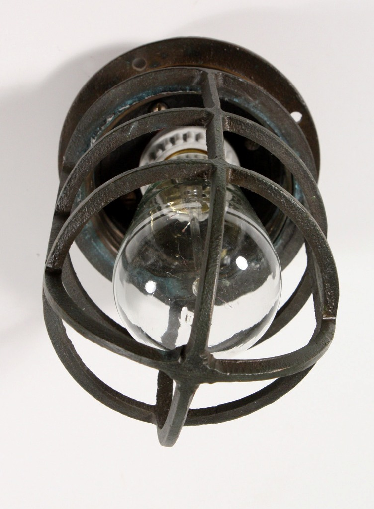Ceiling Or Wall Light With Cage : Antique Industrial Cast Bronze Cage Light Fixture for Wall or Ceiling, Signed Oceanic NC1030 For ...