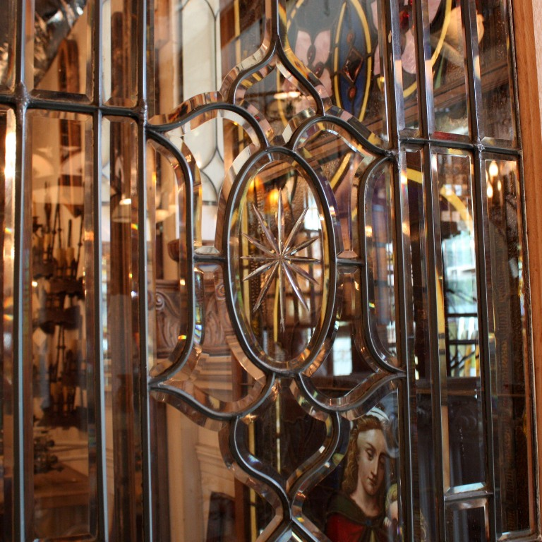 Gorgeous antique reclaimed wood door with a stunning leaded and beveled  glass window, dating from the early 1900's. This door features a  rectangular window ... - Amazing 34 Salvaged Exterior Door With Beveled Leaded Glass, Hand
