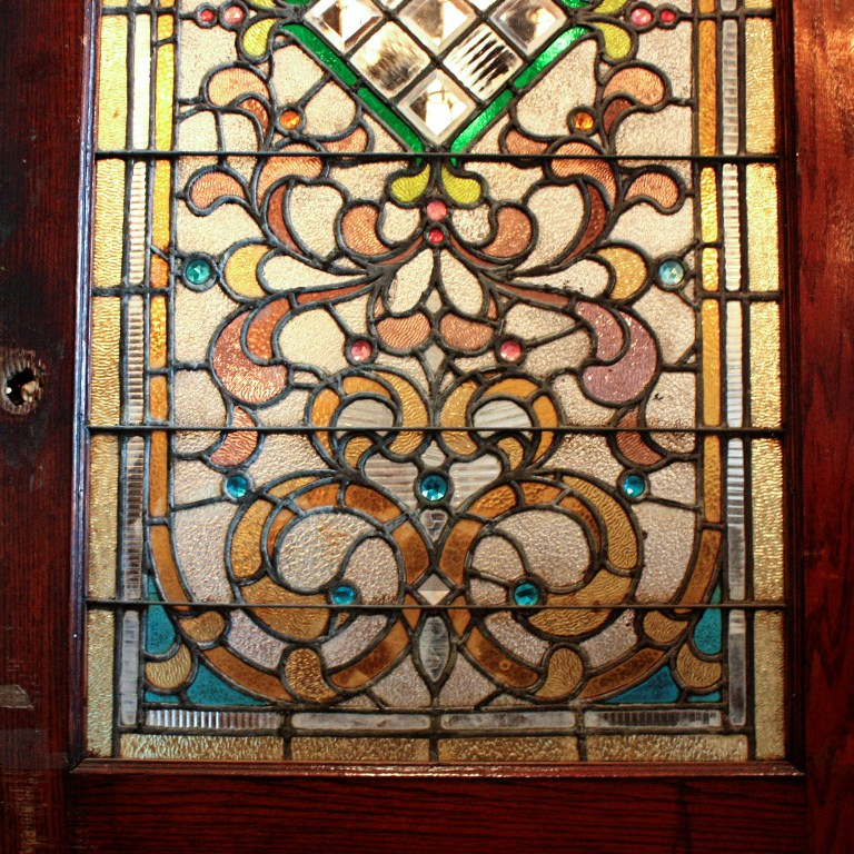 Large 38 Antique Oak Front Door With Jeweled Stained Glass 1800s