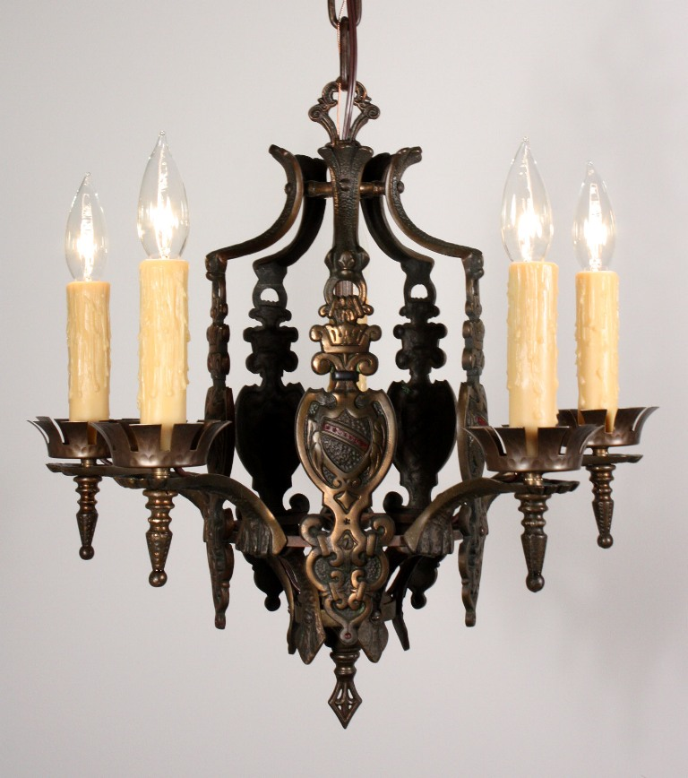 Marvelous Antique Five Light Spanish Revival Chandelier