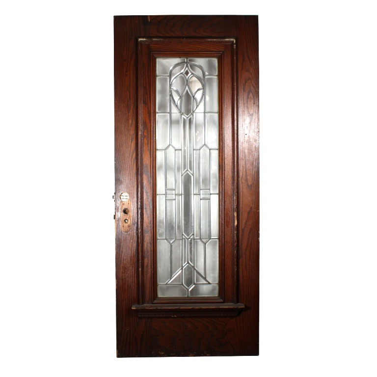 Magnificent antique 36 exterior door with beveled leaded for Exterior doors for sale